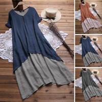 Women Vintage Short Sleeve Midi Dress Casual Loose Oversized Tunic Shirt Dresses