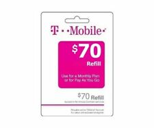 T-Mobile Prepaid $70 Refill Top-Up Prepaid Card / RECHARGE DIRECT