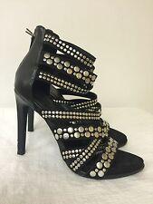 Zara Trafaluc Women Black Faux Leather Straps Sandals Heels size 38