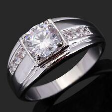 Gorgeous Size 10 Women Men 18K Gold Filled Anniversary White Topaz Luxury Rings