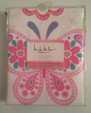 NICOLE MILLER BUTTERFLY PINK White MEDALLION KIDS HOME Fabric SHOWER CURTAIN