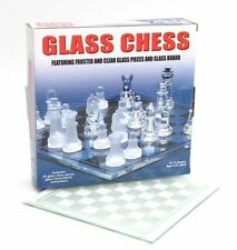 glass chess clear & frosted pieces with glass board