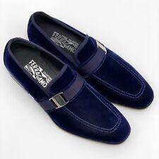 NIB SALVATORE FERRAGAMO 10 D DANNY Blue Velvet Loafers Shoes $695 Authentic