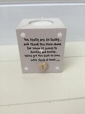 Shabby Personalised Chic Auntie Aunty Great Aunt & Uncle Any Name Candle Gift..
