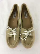 Steve Madden Womens Ladies Tan Canvas Slip On Flats Shoes Size 9.5M