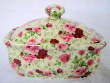 Pink summertime vintage chintz design butterdish by Heron Cross Pottery