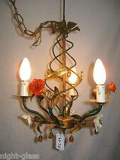 Petit lustre ancien en fer peint décoré de perle et de fleur multicolore/N°FL19