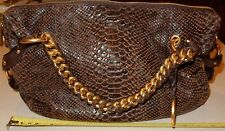 Michael Kors Handbag Bag Purse Snake Python Brown Leather