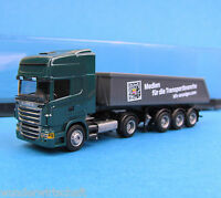 AMW H0 SCANIA R500 Kipper-Sattelzug KFZ-Anzeiger LKW truck OVP HO 1:87 AWM Box