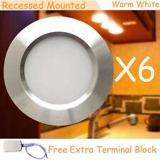 6X12 volt Interior RV Car LED Ceiling Lights Silver Shell Warm White Bonus Block