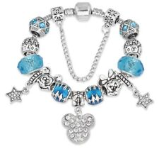 MICKEY AND MINNIE MOUSE Charm Bracelet for Women Girls Teens - 22cm Lt Blue/Silv