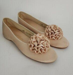 Daniel Green Womens Vtg Retro Slippers Size 6.5 7 Tiffany Taupe Glamour Rosettes