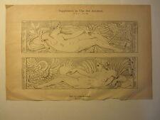 Old 1884 ART PRINT - DESIGN for FURNITURE PANELS - NUDE - Jean Goujon