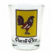 1 oz Shot Glass With Puerto Rico Rooster Flag Crystal SOUVENIR Rican Boricua