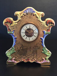 Antique mantle clock VICTORIA CHINA czechoslovakia H/P 24 karat gold 1901-1910