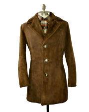 Sawyer of Napa vtg Shearling Suede Coat Small Slim 38R Brown Malboro Man Jacket