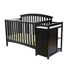 Black 5 In 1 Convertible Crib Set Toddler Baby Bed Nursery Furniture Changer New