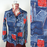 Vtg 60s 70s DENIM PATCHWORK PRINT SHIRT Hippie Festival  Farmer Overalls Look