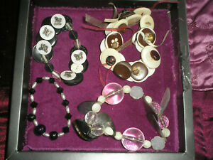 COSTUME JEWELLERY BRACELETS X 4 'HAND MADE' BUTTONS/BEADS/RIBBONS JOB LOT