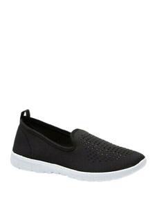 Womens Black Trainers Wide Fit Size 5 Memory Foam Slip On Pumps Walking Shoe NEW