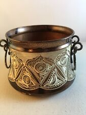 Vintage Copper Brown Silver Etched Bowl With Handles