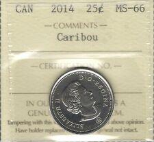 2014 CARIBOU Twenty-Five Cents ICCS MS-66 GEM+ BU * GORGEOUS QEII Canada Quarter