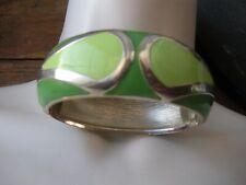 Vintage Modernist  Silver Green Enamel Bangle Bracelet Classy Hip Cool