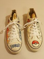 Pokemon Shoes Custom Hand Drawn Faded Glory Canvas White Low Top - US 13 EUR 48