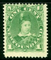 Canada 1887 Newfoundland 1 Pence Dark Green Scott #44 Mint Z834