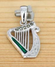 Anhänger Schmuck Silber rhodiniert - Emaille - Markasit -  Keltische Harfe
