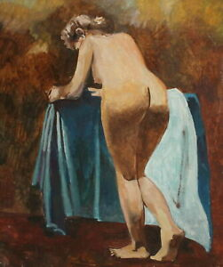 Vintage impressionist oil painting nude woman portrait
