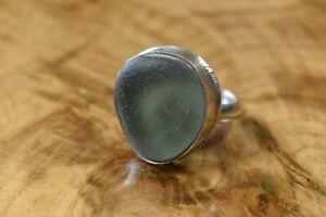 Gorgeous Green Sea Glass Ring Sterling Silver Edinburgh Hallmarks Size O 1/2