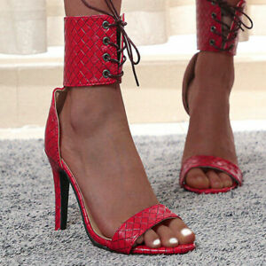 Summer New Fashion Sexy Women's Lace-Up Open-Toe Sandals Stiletto Heels Oversize