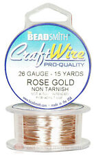 Rose Gold 26GA Round Craft Wire Jewelry Beading Wrapping Jump Rings 15 Yds