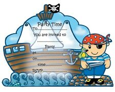 Pirate & Ship Card Invitations Unisex Boys and Girls Birthday Party / 16 Invites