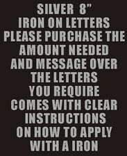 """Pack of 2 x 8"""" Silver Iron On Characters - Letters or Numbers Vinyl Printing"""