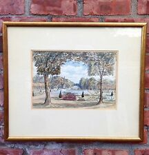 Amazing 1898 French Watercolor Gardens Of Chateau De Fontainbleau. NY Estate