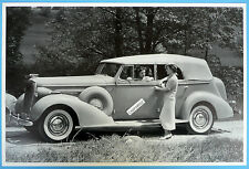 """12 By 18"""" Black & White Picture 1936 Buick Convertible 4 Door Sedan Top Up"""