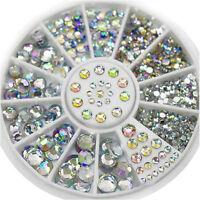 1 Box Nail Art Rhinestones Glitter Diamond Gems 3D Tips DIY Decoration Wheel FO