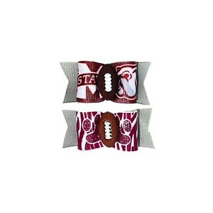 Dog Hair Bows- Mississippi State Bulldogs Football Pet Bow Elastics or Barrette