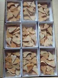 72 Blisterboxen  mit Holzschwungherzen je ca 6,0 cm * 4,0 cm groß  18er Box
