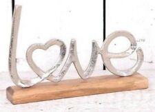 Metal Love Display on Wooden Base