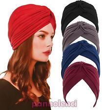 Turbante donna cuffia retro fascia bandana cappello pieghe morbido nuovo KT1113