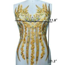 1Pcs Embroidery Lace Applique with Rhinestone For Wedding Dress DIY Material