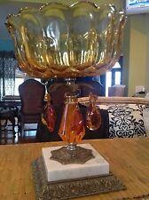 Vintage estate amber Glass Decorative Bowl Pedestal Marble and metal  Base