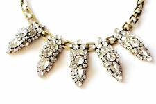 Gold Tribal Geometric Crystal Bling Cluster Statement Fashion Jewelry Necklace