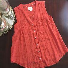 Maeve By Anthropologie Orange Button Sleeveless Top Vest Tunic Vneck Sz 6