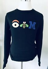 Vtg Ibm Eye Bee M Black New Era Crewneck Sweatshirt Men's Size Large