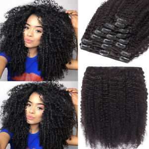 Double Weft Thick Afro Kinky Curly Clip in 100% Virgin Human Hair Extensions UK