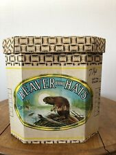 "Rare Beaver Brand Hat Box ~ Cardboard 13"" T with Lid"